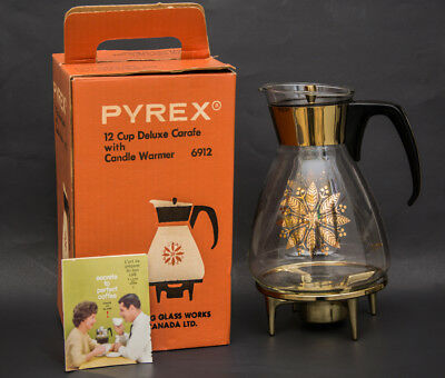 Pyrex Vintage Coffee Carafe 12 cup 6912 with candle warmer original box
