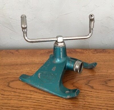 Vintage SUNBEAM Rain King Model E1 Rotating Lawn Sprinkler MCM Aqua Blue Atomic