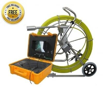 "Sewer Drain Pipe Cleaner 10"" LCD 300F Cable Self Leveling 1.5"" Camera 512HZ Sond"
