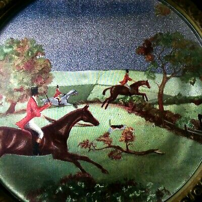 Vintage Solid Brass Plate Wall Art Fox Hunt Scene Insert England Made Decor Vtg