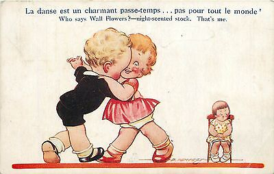 Artist signed D. Tempest Humour Kiddy Dance Who says Wall Flowers?