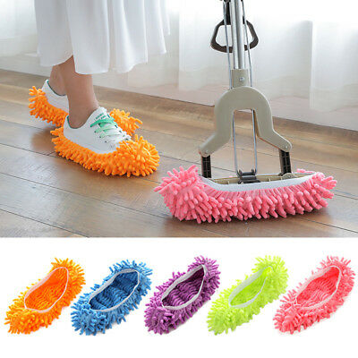 1/2x Mop Slippers Lazy Floor Foot Socks Shoes Quick Polishing Cleaning Dust UK