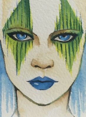 Original ACEO painting. Girl in green and blue eyes fantasy make up by V. Scala