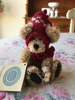 "ADORABLE Boyds Bears & Friends FITZGERALD O'BRUIN Winter Hat 6"" Jointed Bear"