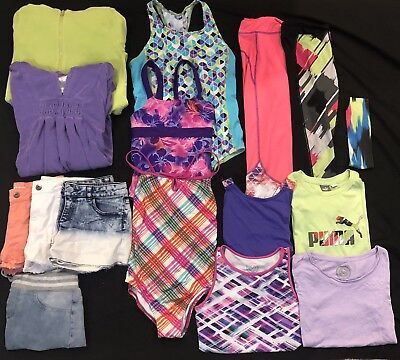 USED GIRLS SIZE 14 SUMMER 16 PIECE LOT/ LANDS'END/ SPEEDO/ PUMA/ SO/ Swimsuits