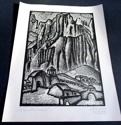 Black & White Linocut Print, Titled and Signed by Artist.