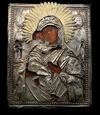 Antique 1800s Silver Russian Icon Vladimirskaya Mother of God & Saints Stamped