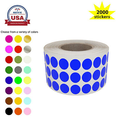 Dot Sticker Labels 1/4 inch 8mm Color Coded Craft Circles in Roll 2000 Pack