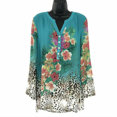 9d062a6e761 Soft Surroundings Tunic Top Sheer Floral Animal Print Women's Size Medium