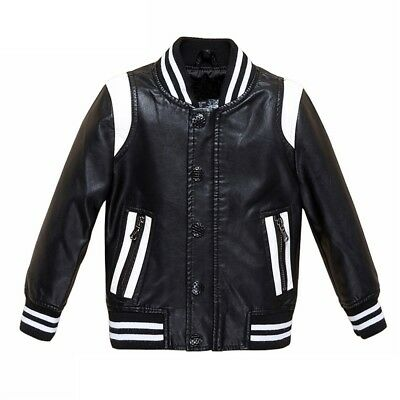 Childs Faux Leather Retro Vintage Style Sports Boy Girl Zip Up Coat Jacket 2-11Y