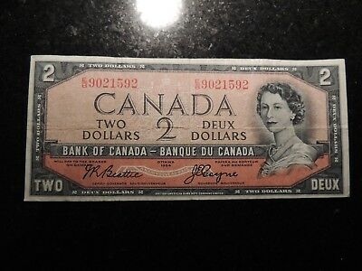 1954 BANK OF CANADA $2 TWO DOLLARS E/B 9021592 BC-30b DEVIL'S FACE BEATTIE COYNE