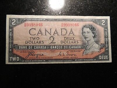 1954 BANK OF CANADA $2 TWO DOLLARS B/B 9998046 BC-30a DEVIL'S FACE COYNE TOWERS