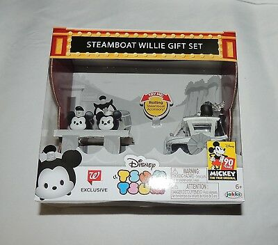 New Disney Tsum Tsum Steamboat Willie Gift Set Boat Mickey Minnie Mouse Vinyl