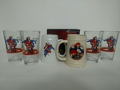 Captain Morgan Drinking Glass Tankard Stein Set Lot