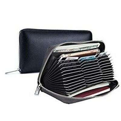 Men Women Credit Card Holder RFID Blocking Wallet 36 Card leather large Capacity