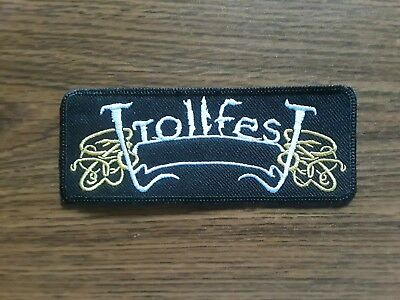 Trollfest,sew On White And Golden Embroidered Patch