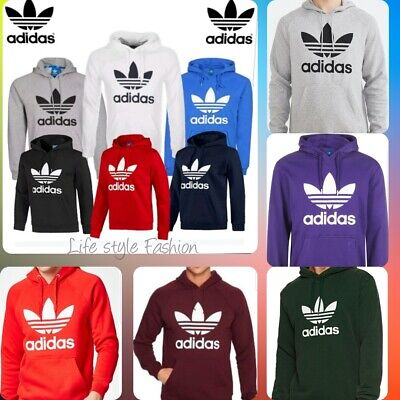 Mens Adidas Originals Mens Trefoil Fleece Hoodie Top Hooded Sweatshirt S M  L XL 4f4b333a1