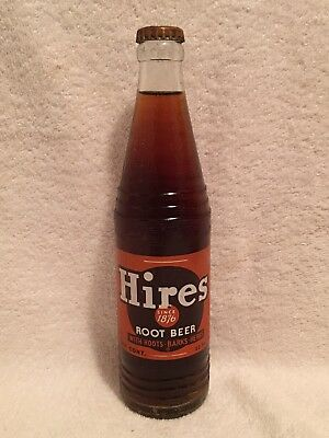 FULL 12oz HIRES ROOT BEER ACL SODA BOTTLE SINCE 1876