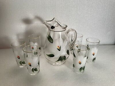 Glass pitcher set - 7 pc. DUNBAR HANDPAINTED - WHITE FLORAL DESIGN -GOLD TRIM