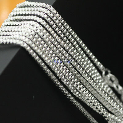 Italian 925 Solid Sterling Silver .8mm Thin Box Chain Necklace- Italy -ALL SIZES