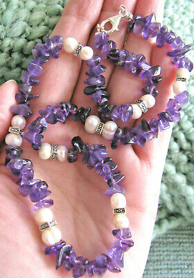 """New Natural Amethyst Nugget & Freshwater Pearls Necklace W/Silver Clasp-18"""""""