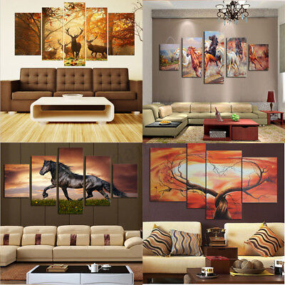 5Pcs Unframed Large Canvas Modern Art Oil Painting Picture Print Home Wall Decor