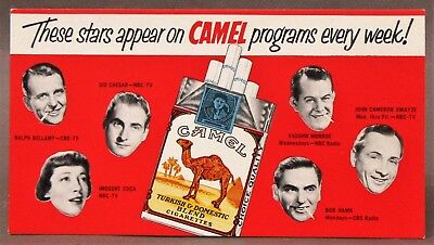 1950's CAMEL CIGARETTES Radio & TV Show sponsored advertising ink blotter unused