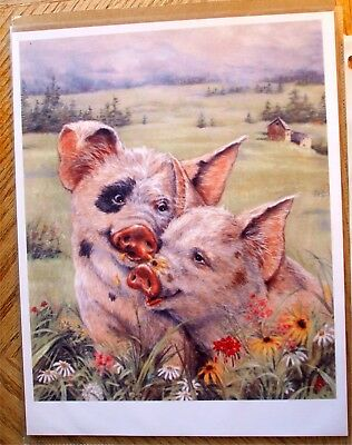 Cute Country PIGS IN LOVE Farm Scene Daisies Repro Art Print for Framing 8x10