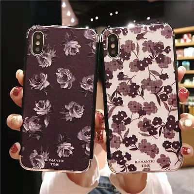 For iPhone 6 7 8 X XR XSMax New Romantic Vintage Flower Women Phone Case Cover