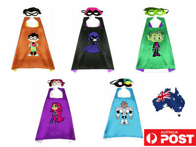AU Superhero Teen Titans Go Cosplay Boy Girl Cape Mask Party Costume Kids Gift