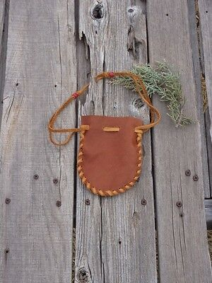 Drawstring leather pouch , Leather medicine bag , Leather crystal bag