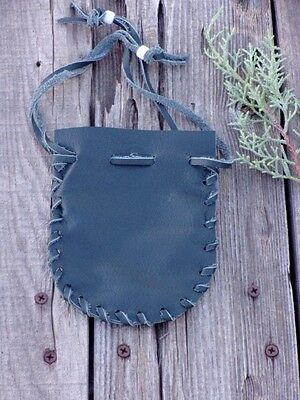 Green leather drawstring pouch , Small leather pouch , Leather medicine bag