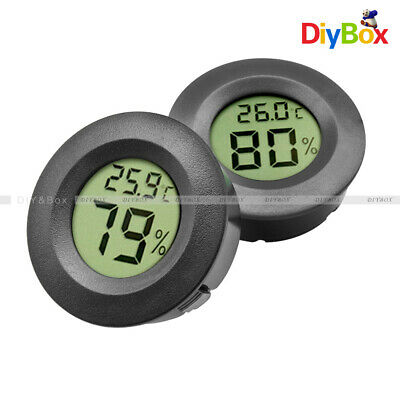 Digital Cigar Humidor Hygrometer Thermometer Round Black Face Humidity Meter