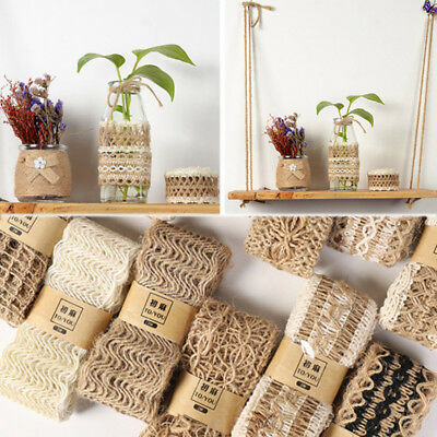 2M Jute Burlap Hessian Ribbon Braided String Arts Craft Gift Wrap Rustic Decor