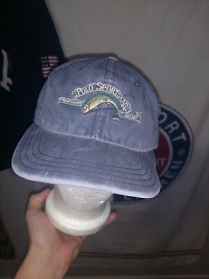 e0121879 Polo Sportsman Hat Ralph Lauren Blue Strapback Fishing Trout USA Made Sport  Cap