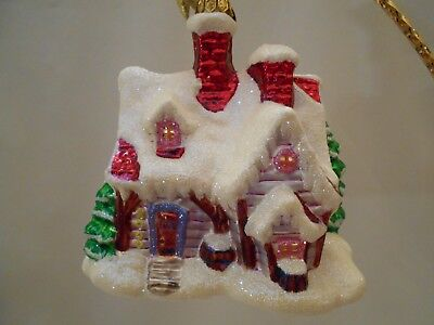 "Radko  ""holiday Hideaway""  00-1259-0  2000  4 1/2"" X 4 1/2""  Cabin Snow Tree  Le"
