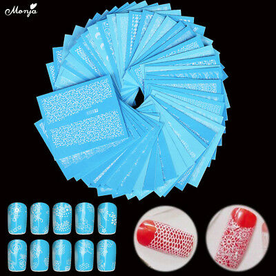 48pcs White Lace Design Nail Art Water Transfer Stickers Flower Decals Decor