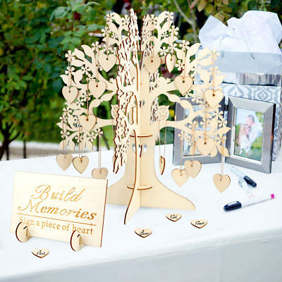 DIY 3D Wooden Wishing Tree &Hearts for Wedding Guest Sign Book Table Centerpiece