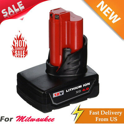 12V Replace For Milwaukee M12 M12B XC 4.0 48-11-2460 Compact Lithium Ion Battery