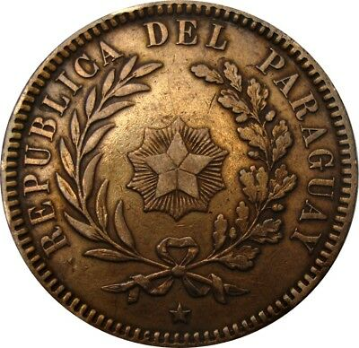 1870 Paraguay 2 Centesimos in Great Condition - Scarce Copper Coin  KM: 3