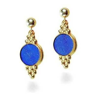 """Gold Plated Natural Blue Lapis Lazuli Drop Post Earrings 1.5"""" L"""