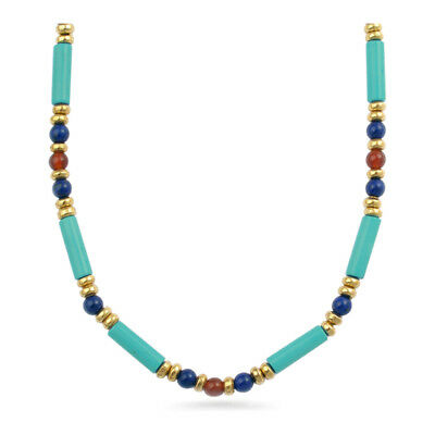 Gold Finish Egyptian Turquoise Tube Carnelian and Lapis Lazuli Necklace, 18""