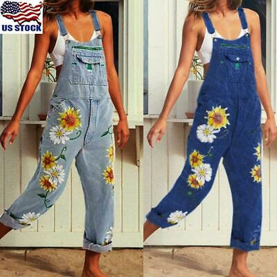 Women Skinny Celeb Denim Jeans Full Length Pinafore Dungaree Overall Jumpsuit US