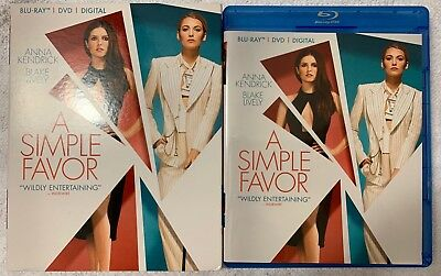 A Simple Favor Blur Ay Dvd 2 Disc Set + Slipcover Sleeve Free World Shipping