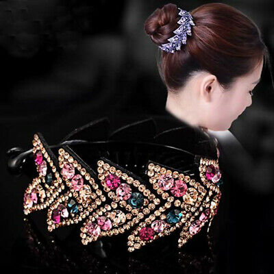 Women's Crystal Rhinestone Flower Hair Clips Claw Clamp Bun Net Hair Accessories