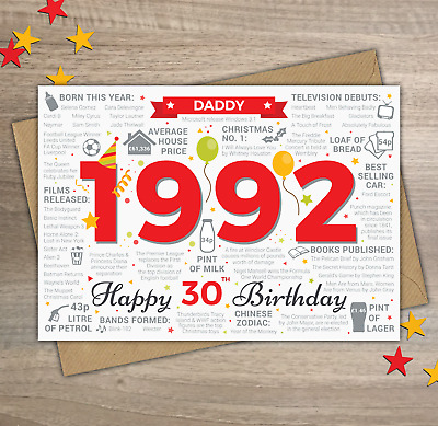 1990 DADDY Happy 30th Birthday Memories / Year of Birth Facts Greetings Card Red