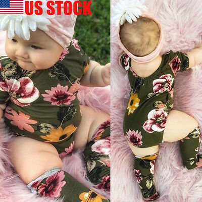 3PCS Baby Girl Floral Romper+Stockings Set Newborn Bodysuit Clothes Outfit 0-18M