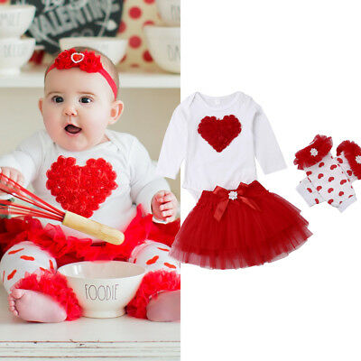 Infant Baby Girl 1st Valentine's Day Top Romper Tulle Skirts Lag Warmers Clothes