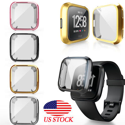 For Fitbit Versa Intelligent Watch thin TPU Case Screen Protector Frame Cover US