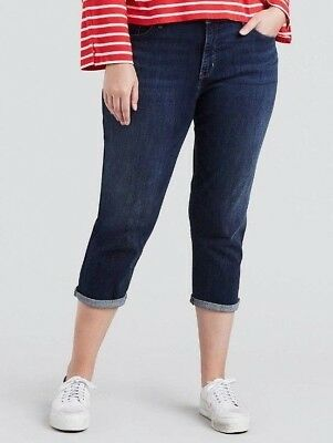 NWT Women Levis Plus Size Skinny Shaping  Roll Hem Capris STRETCH DENIM 22W Blue